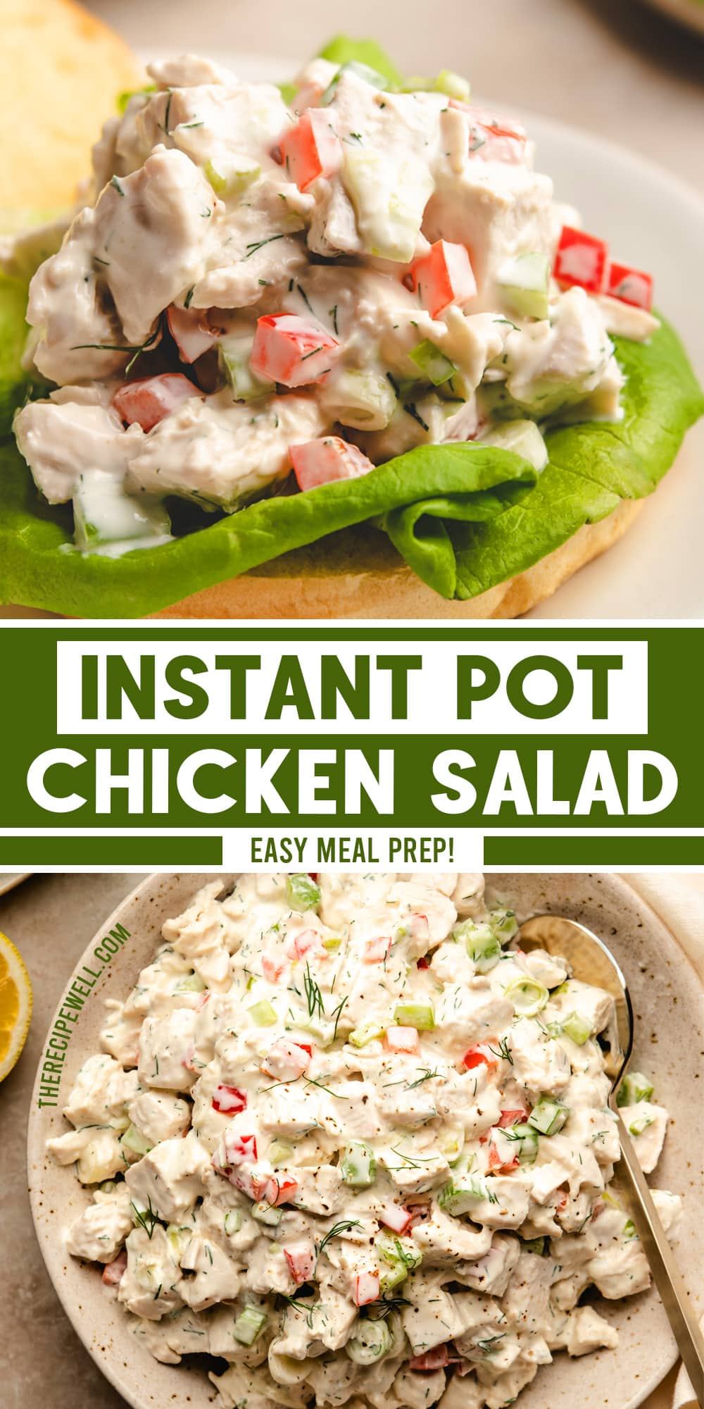 Instant Pot Chicken Salad is an easy, classic recipe made with simple ingredients like chicken breast, celery, bell pepper, green onion, mayo and Greek yogurt. It's ideal for meal prep and easily customized with different mix-ins. via @therecipewell