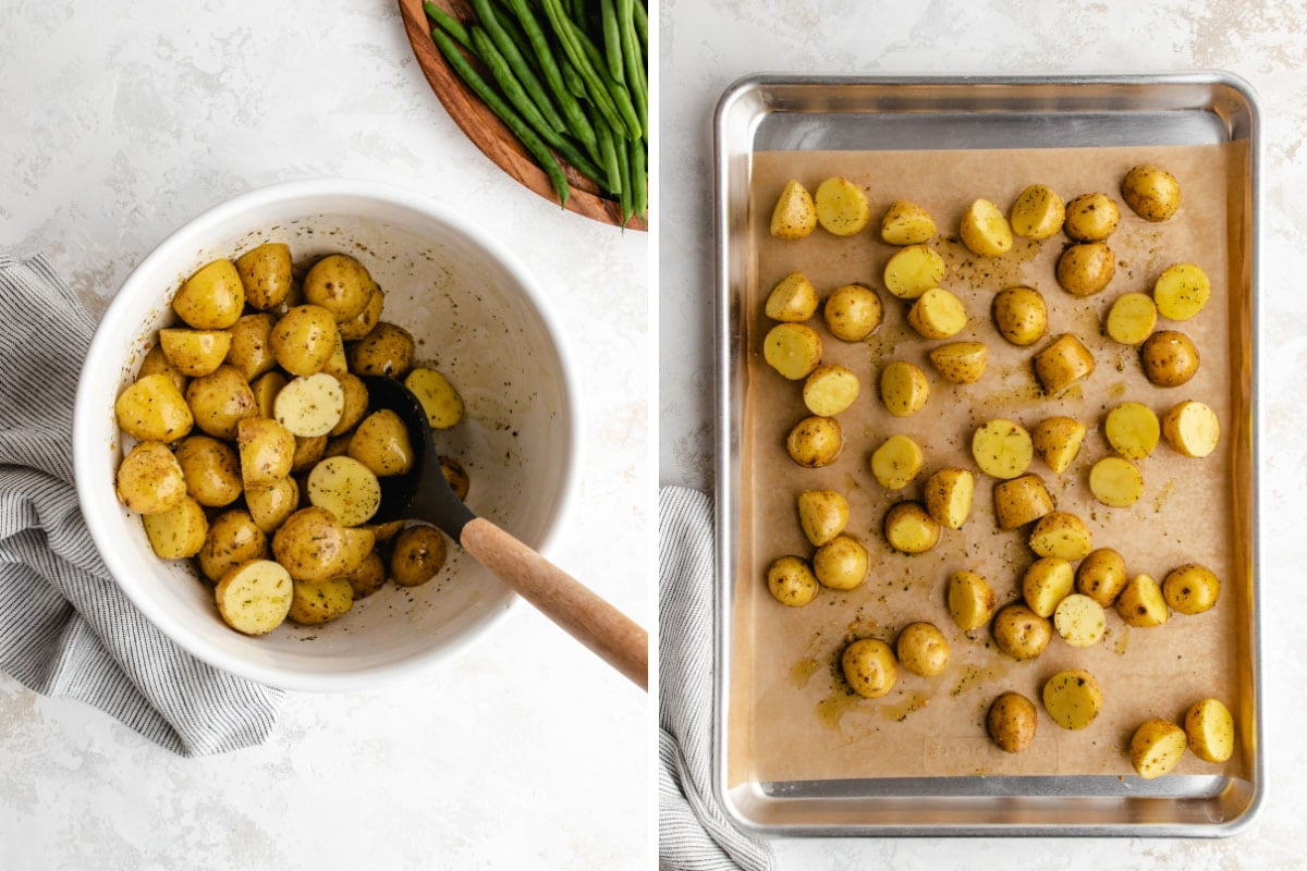 Two-photo collage: Potatoes being tossed in oil and seasoning in a white bowl, next to the potatoes spread on a parchment lined baking sheet.