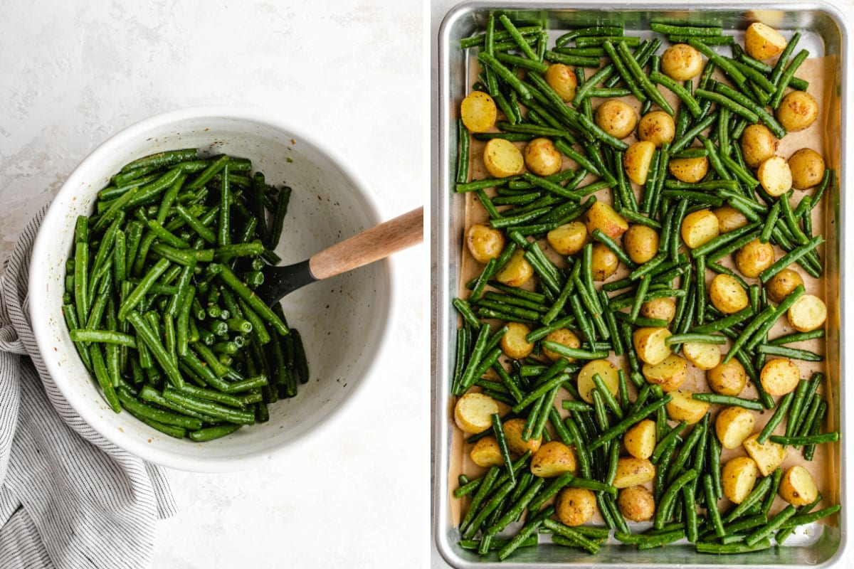 Two-photo collage: Green beans being tossed in oil and seasoning in a white bowl, next to the green beans and partially-cooked potatoes on the sheet pan.
