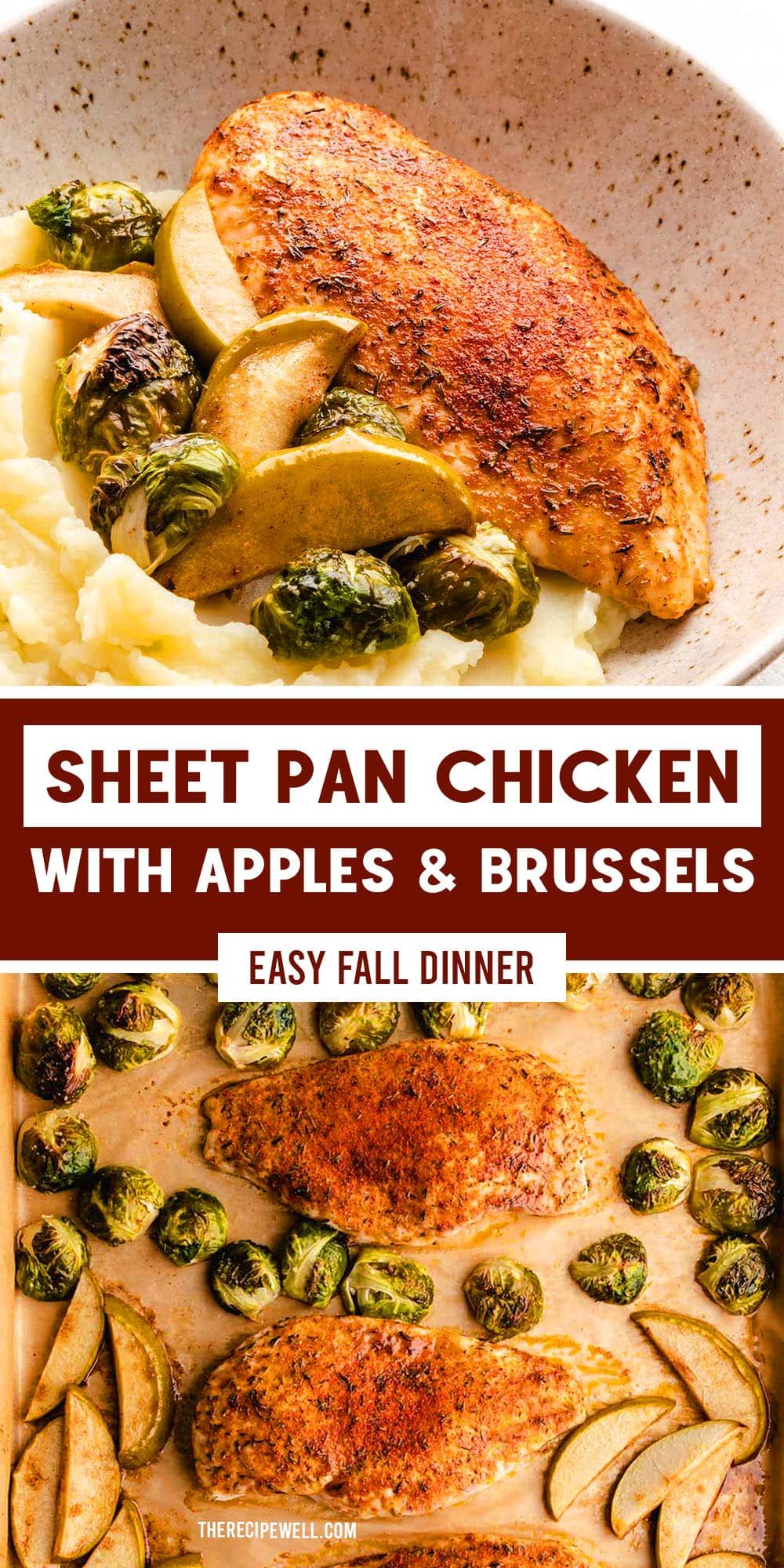 This apple chicken recipe is an easy sheet pan meal with cozy fall vibes. Perfectly seasoned chicken, tart apple and roasted Brussels sprouts come together to make a delicious autumn dinner. via @therecipewell