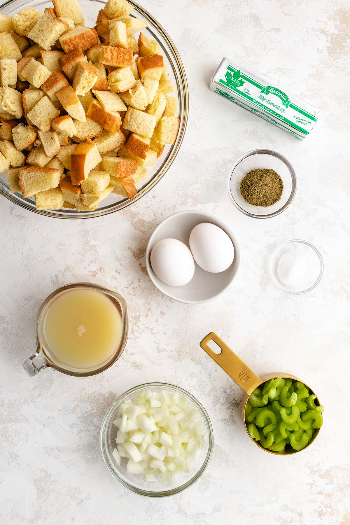 Ingredients needed to make Instant Pot Stuffing, viewed from overhead.