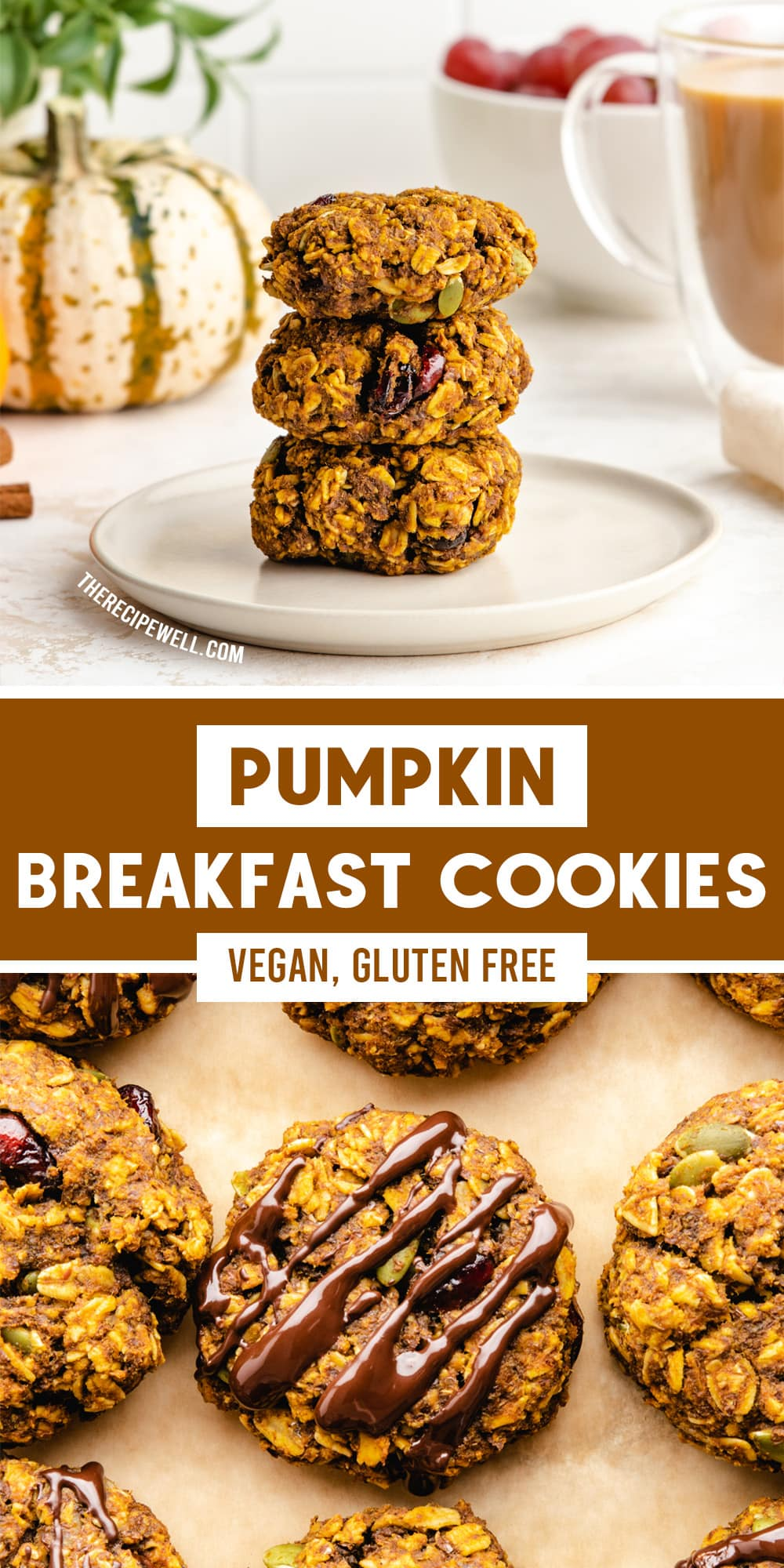 Enjoy cookies for breakfast with these vegan and gluten-free Pumpkin Breakfast Cookies! Made with rolled oats and lightly sweetened with maple syrup, they are a delicious on-the-go breakfast or snack. Perfect for meal prep in the fall season! via @therecipewell